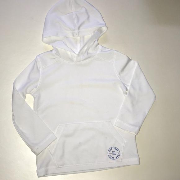 NWT Baby Gap Boys Size 4 4t White Hooded Rashguard Top Bathing Suit